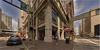 Vine St. and 4th St. in downtown Cincinnati, Ohio.