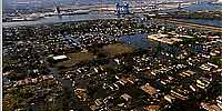 Aerial panorama over New Orleans' flooded Ninth Ward after Katrina and Rita.