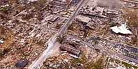 Aerial panorama of downtown Long Beach after Hurricane Katrina.