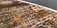 360 degree aerial panorama over Long Beach - Pass Christian city line after Katrina.